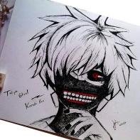 An image of Kaneki Ken I sketched on 2015