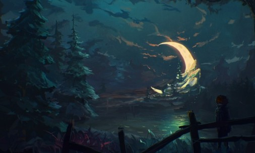 boy-stands-alone-in-pine-wood-crescent-moon-night-painting-694x417